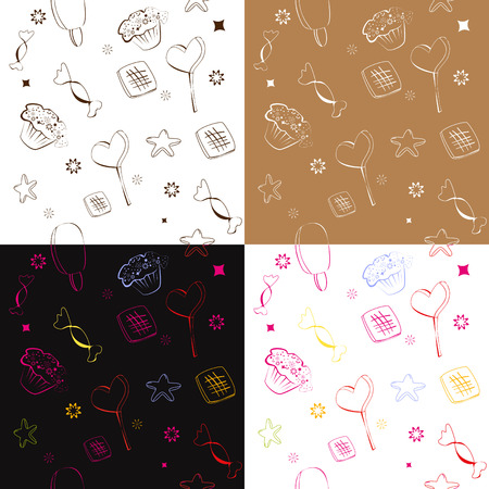 Four seamless pattern with candies, Stock Vector - 6400045