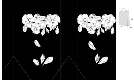 Black and white template for bag with floral ornament Vector
