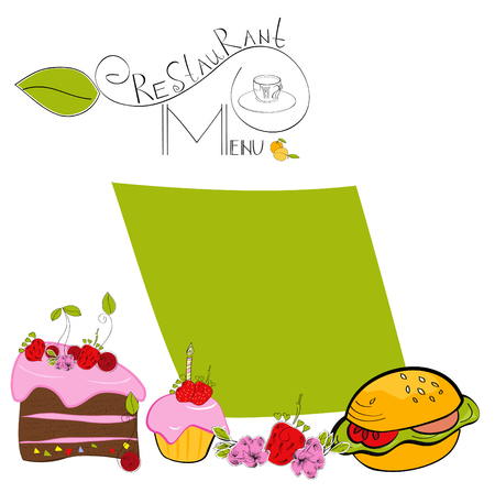 Cartoon template for menu Stock Vector - 6436113