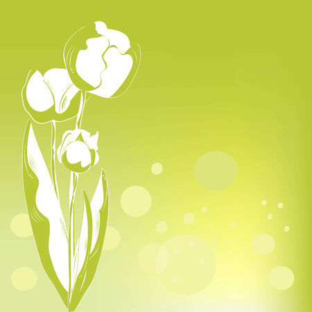 Decorative card with tulips Vector