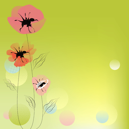 Green decorative background with poppy flowers Vector