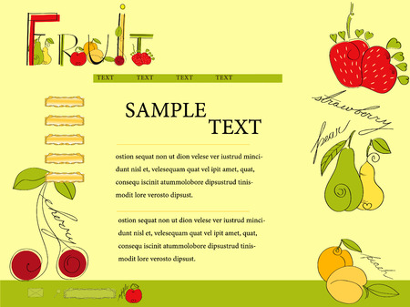 layout strawberry: Website template with fruit