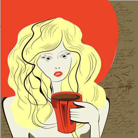 Young woman with a cup of coffee Vector
