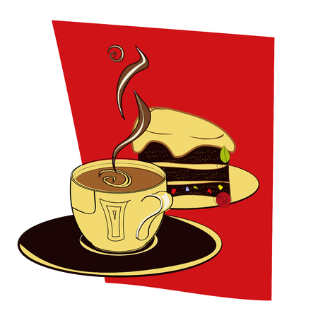 A cup of coffee with cake Stock Vector - 6470526