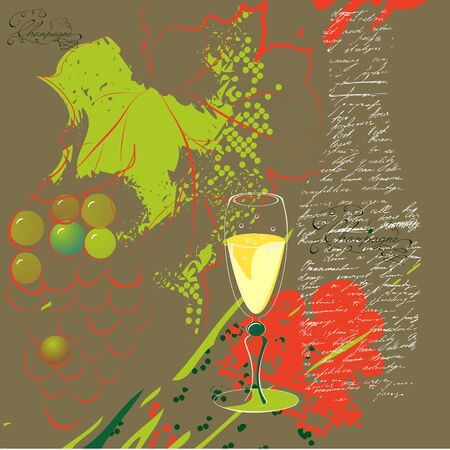 stilllife: glass of champagne on stylized background