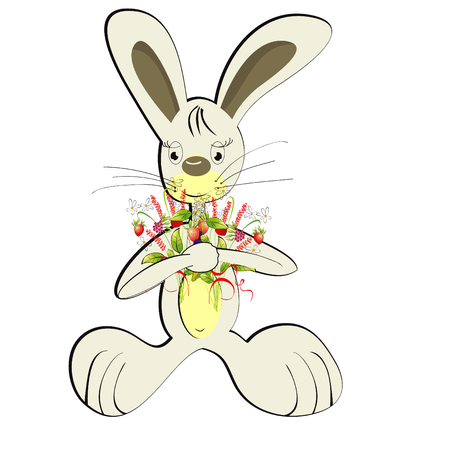 Rabbit with forest flowers Stock Vector - 6470518