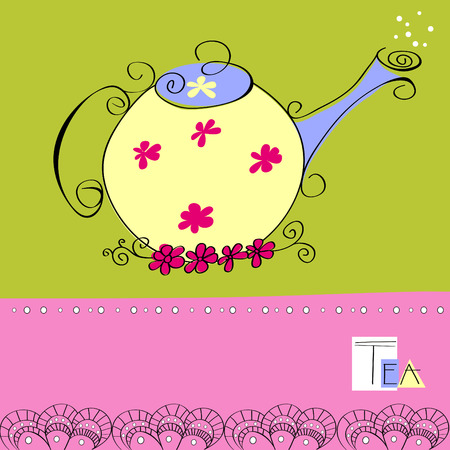 teakettle: Decorative card with teapot Illustration