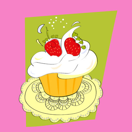Cupcake with strawberry Vector