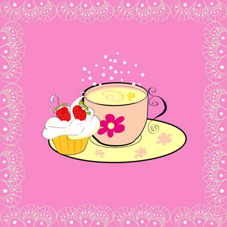 A cup of tea with cupcake Vector