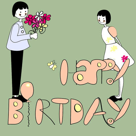 inscription: Inscription happy birthday with girl and boy Illustration