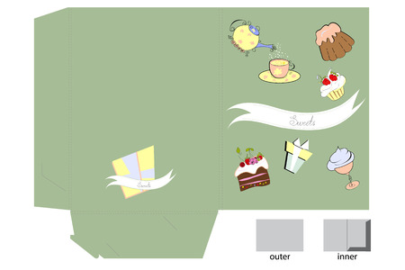 Template for folder with sweets Vector