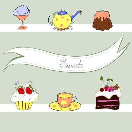 Stylized background with sweets Vector