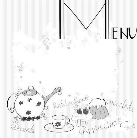 stand teapot: Stylized menu Illustration