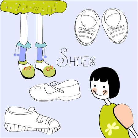 plimsolls: Template with shoes element Illustration