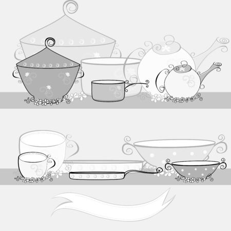 Black and white illustration with kitchen equipment Vector