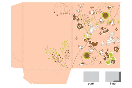 Decorative folder with floral pattern Vector