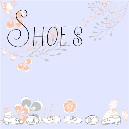 Inscription SHOES with floral ornament Illustration