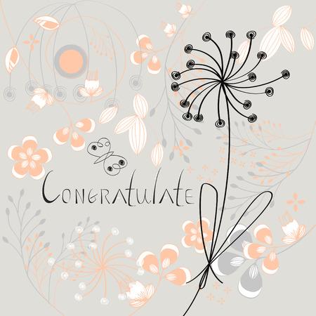 congratulate: Inscription Congratulate with flowers