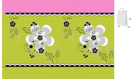 bolsa de regalo: Plantilla para bolsa de regalo con ornamentaci�n floral Vectores