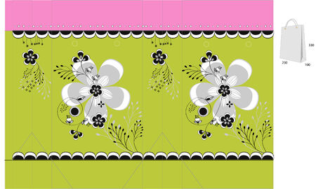 diecut: Template for gift bag with floral ornament