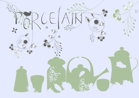 Inscription Porcelain with dishes silhouettes Vector