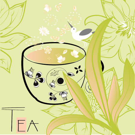 Floral background with a cup of tea Vector