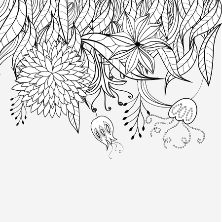 doodle art: Sketch with floral ornament