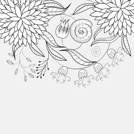 flores vintage: Monochrome floral background Illustration