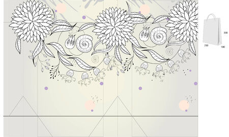 diecut: Template for decorative bag with floral ornament