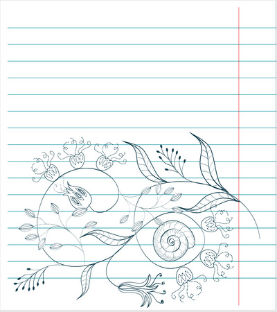 Note paper with floral sketch Stock Vector - 6548320