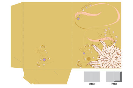 Template for gift bag with flowers Vector