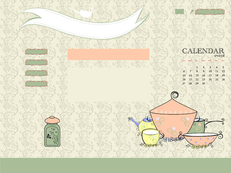 Website, brochure template with dishes.  Vector