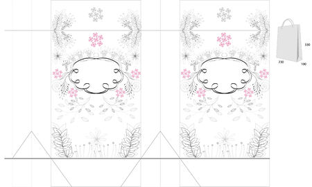 Template for bag with floral ornament Vector
