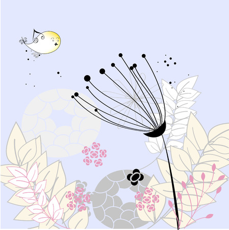 Floral background with flower and bird Vector