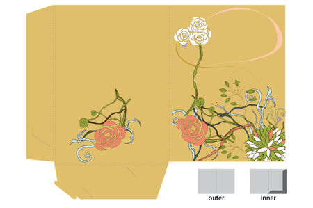 Template for decorative folder with floral element Vector