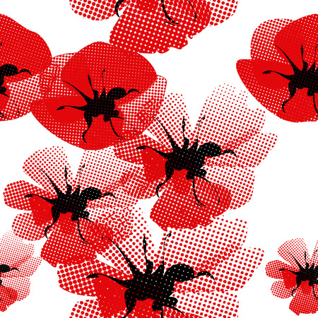 floral seamless pattern with poppy Vector