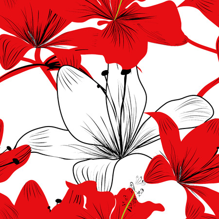 abstract flowers: Colorful seamless pattern