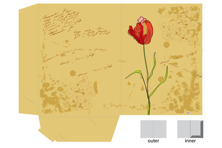 Template for decorative folder with tulip flower Vector