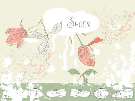 template for backgrounds with shoes Vector