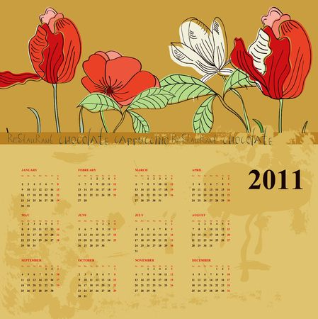 Decorative calendar for 2011 with flowers Vector