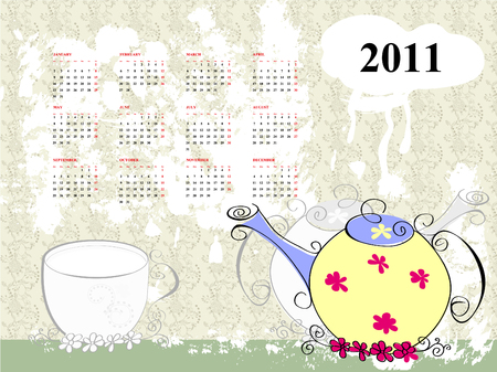 teakettle: calendar for 2011 with teapot