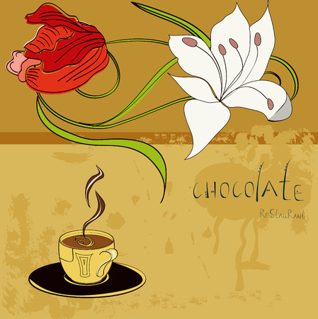 Template for restaurant design wit a cup of chocolate Vector