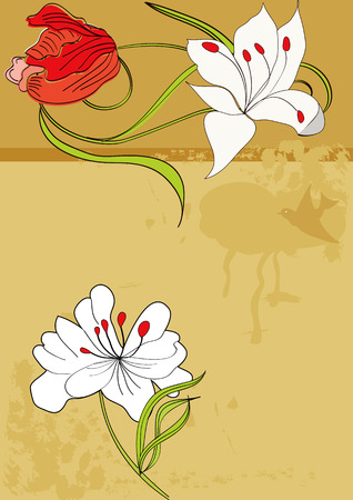 Retro stylized background with flowers Stock Vector - 6612912