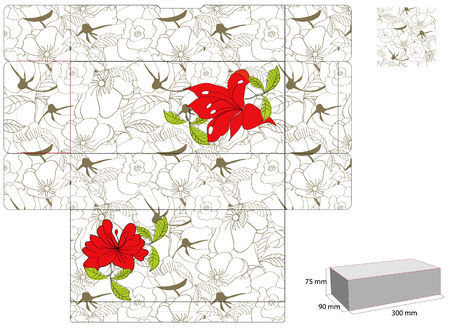 Template for box with summer flowers Vector