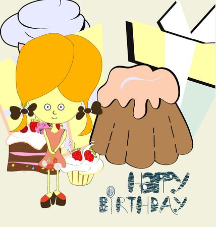 gir: Girl with sweets Illustration