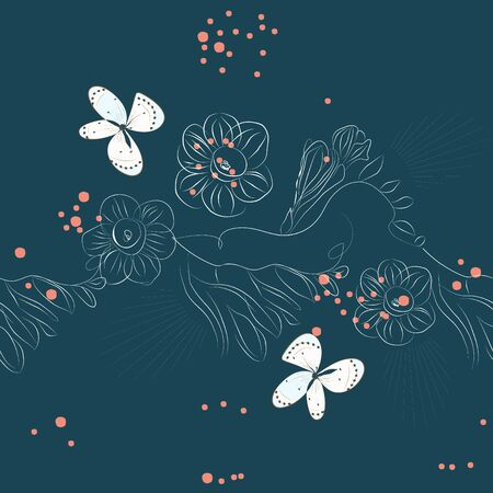 seamless pattern with flowers on blue background Stock Vector - 6659667