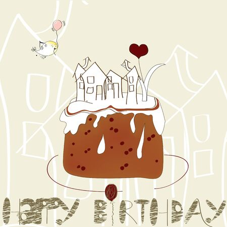 Decorative card with cake Vector