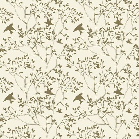 bird pattern: seamless wallpaper with tree branches and bird