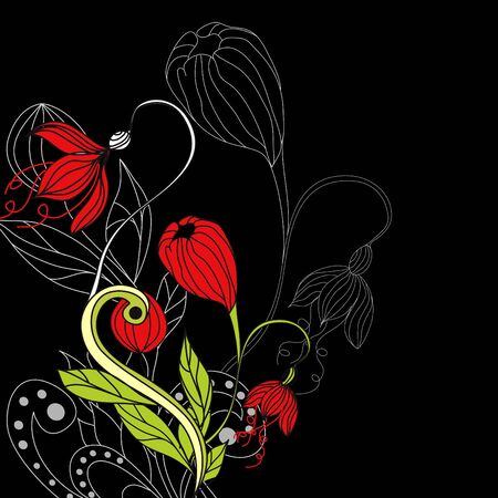 Background with red flowers Stock Vector - 6659723