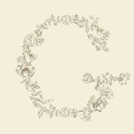 Floral font. Letter G Vector